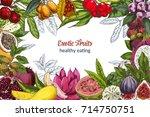 full color exotic fruits ... | Shutterstock .eps vector #714750751