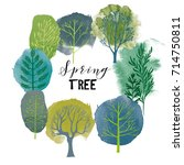 Spring Tree Set. Vector Tree...