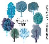 winter tree set. vector tree...
