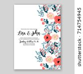 peony wedding invitation... | Shutterstock .eps vector #714754945
