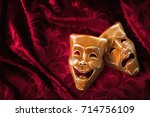 theater masks  drama and comedy ... | Shutterstock . vector #714756109