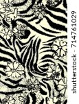 Zebra And Flowers Pattern...