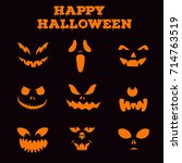 collection of halloween... | Shutterstock .eps vector #714763519