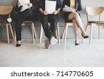 job interview concept.  group... | Shutterstock . vector #714770605