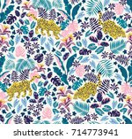 seamless pattern with jaguars... | Shutterstock .eps vector #714773941