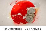 a pile of bitcoin coins stands...   Shutterstock . vector #714778261