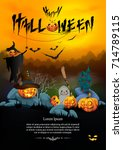 halloween background with a... | Shutterstock .eps vector #714789115