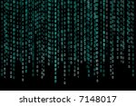 Binary code is floating on the screen - stock photo
