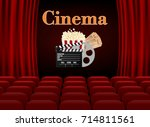 movie theater with row of red... | Shutterstock .eps vector #714811561