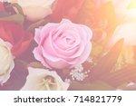 soft focus rose flower  vintage ... | Shutterstock . vector #714821779