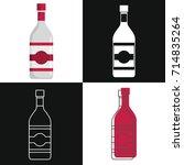 vodka bottles vector isolated... | Shutterstock .eps vector #714835264