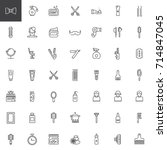 barber shop line icons set ... | Shutterstock .eps vector #714847045