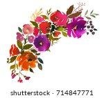 violet orange purple watercolor ... | Shutterstock . vector #714847771