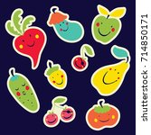 funny stickers with vegetables. ... | Shutterstock .eps vector #714850171
