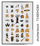 set of halloween icons vector   Shutterstock .eps vector #714854284