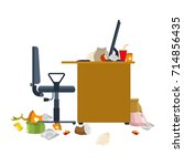 dirty workplace. garbage and... | Shutterstock .eps vector #714856435
