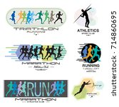 illustration of a marathon.... | Shutterstock .eps vector #714860695