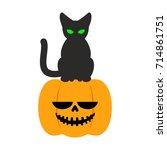 pumpkin and black cat halloween ...   Shutterstock . vector #714861751