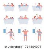 bath vector illustration flat... | Shutterstock .eps vector #714864079