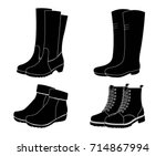 collection of boot    ... | Shutterstock .eps vector #714867994