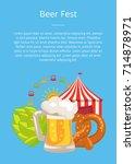 beer fest poster closeup vector ... | Shutterstock .eps vector #714878971