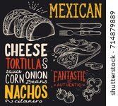 mexican menu for restaurant and ... | Shutterstock .eps vector #714879889