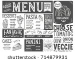 organic menu for restaurant and ... | Shutterstock .eps vector #714879931