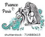world famous landmark... | Shutterstock .eps vector #714880615