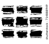 set of black brush stroke.... | Shutterstock .eps vector #714888949