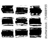 set of black brush stroke.... | Shutterstock .eps vector #714888955