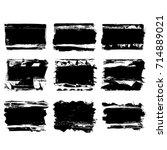 set of black brush stroke.... | Shutterstock .eps vector #714889021