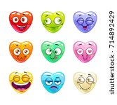 funny cartoon colorful glossy... | Shutterstock .eps vector #714892429