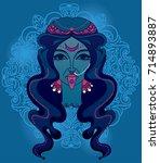 portrait of  indian goddess...   Shutterstock .eps vector #714893887