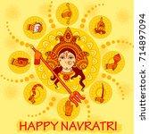 vector design of indian goddess ... | Shutterstock .eps vector #714897094