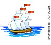 aquatic,boat,brig,clipper,corvette,cruise,cruiser,flag,illustration,journey,marine,nautical,ocean,sail,schooner