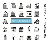 tower and building icons set | Shutterstock .eps vector #714903115