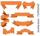 set of seven orange ribbons and ... | Shutterstock .eps vector #714903565