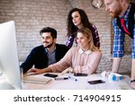 creative young business people... | Shutterstock . vector #714904915