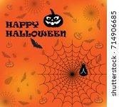 happy halloween card. flat... | Shutterstock .eps vector #714906685
