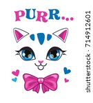 beautiful cat face on white... | Shutterstock .eps vector #714912601