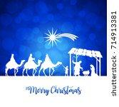 high detail vector nativity... | Shutterstock .eps vector #714913381