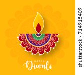 happy diwali  vector... | Shutterstock .eps vector #714915409