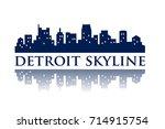 detroit skyline silhouette city ... | Shutterstock .eps vector #714915754