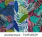 set of three seamless floral...   Shutterstock .eps vector #714918529