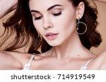 beautiful portrait pretty sexy... | Shutterstock . vector #714919549