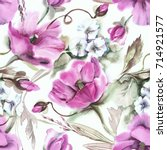 poppies seamless pattern.... | Shutterstock . vector #714921577