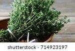 Fresh Thyme In A Bowl  Closeup