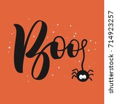 hanging word boo text with... | Shutterstock .eps vector #714923257