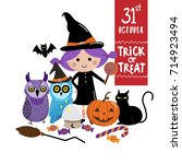 halloween  cute witch and her... | Shutterstock .eps vector #714923494