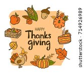happy thanksgiving day hand... | Shutterstock .eps vector #714926989
